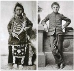 Thomas Moore before and after his entrance into the Regina Indian Residential School in Saskatchewan in 1874.